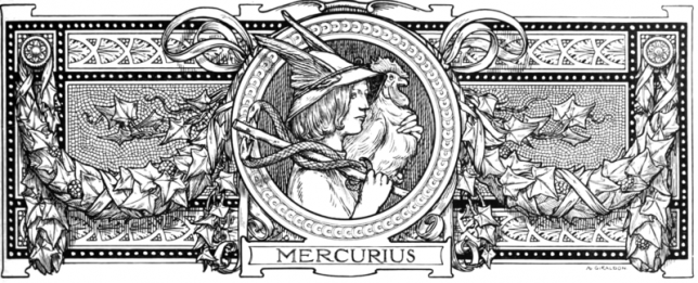Illustration featuring the ancient Roman messenger god Mercury