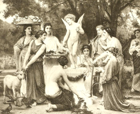 Cupid attended by ladies image