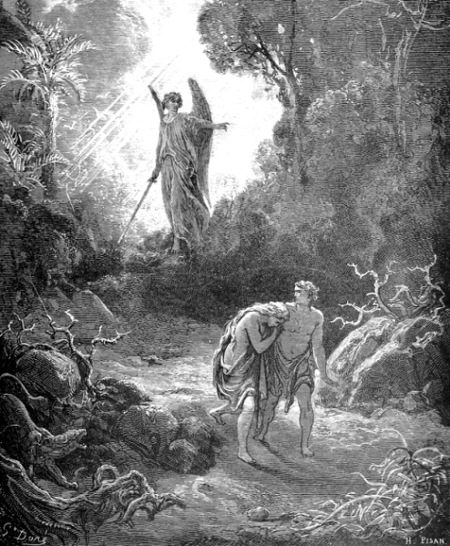 Illustration of Adam and Eve being expelled from Eden