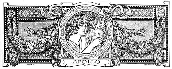Illustration featuring the ancient Roman god of light Apollo